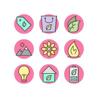 Conjunto de iconos de eco sobre fondo blanco vector elementos aislados
