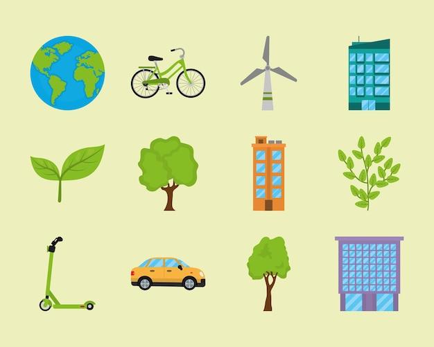Conjunto de iconos de ecología y ciudad