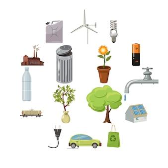 Conjunto de iconos de ecología, estilo de dibujos animados