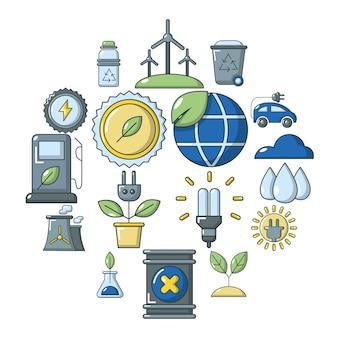 Conjunto de iconos de la ecología, estilo de dibujos animados