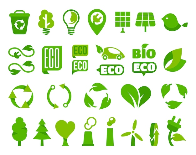 Conjunto de iconos ecológicos o signos ecológicos aislados con ilustración de hoja de planta