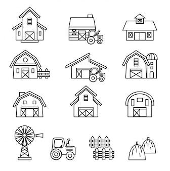 Conjunto de iconos de edificio de granero y granja.