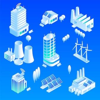 Conjunto de iconos de edificio inteligente