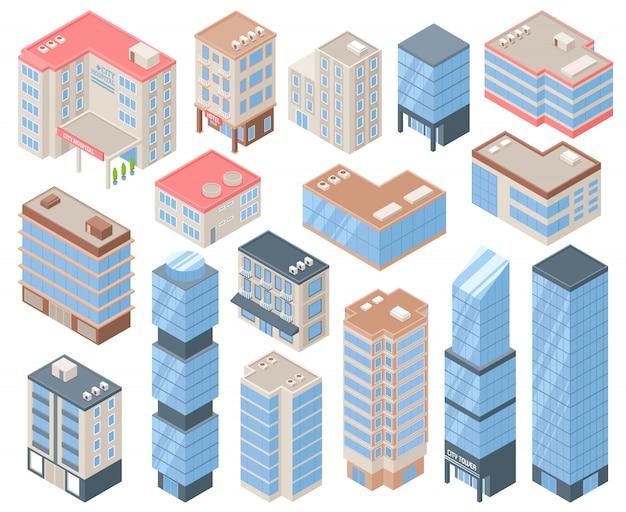 Conjunto de iconos de edificios de la ciudad