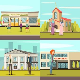 Conjunto de iconos de edificios municipales ortogonales