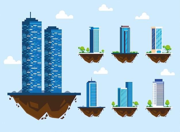 Conjunto de iconos de edificios sobre terreno, paisaje urbano