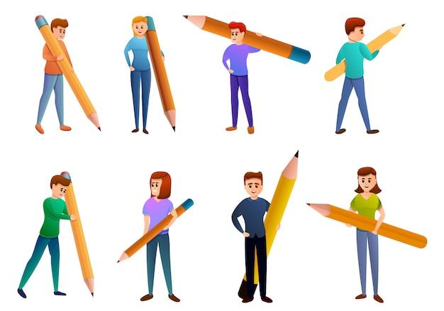 Conjunto de iconos de editor, estilo de dibujos animados