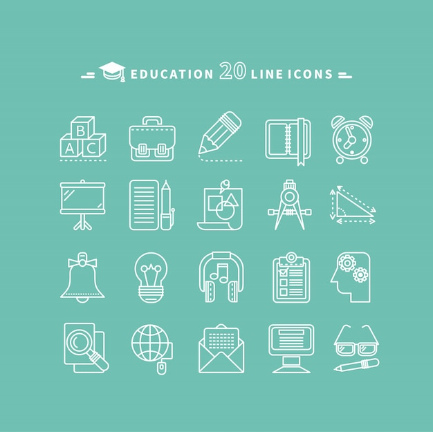 Conjunto de iconos de educación de contorno