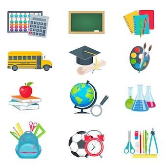 Conjunto de iconos de educación escolar