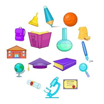 Conjunto de iconos de educación, estilo de dibujos animados