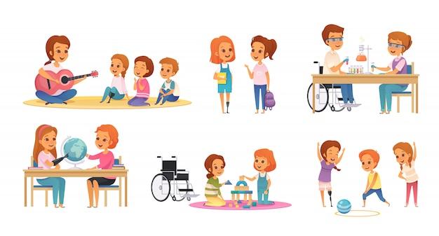 Conjunto de iconos de educación inclusiva de color y dibujos animados con niños discapacitados aprender y jugar ilustración
