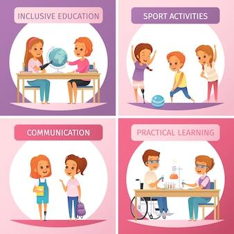 Conjunto de iconos de educación inclusiva de cuatro cuadrados con educación inclusiva, comunicación, actividades deportivas y descripciones de aprendizaje práctico