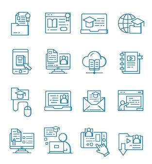 Conjunto de iconos de educación en línea con estilo de contorno
