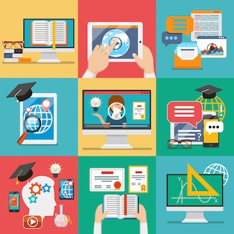 Conjunto de iconos de educación en línea