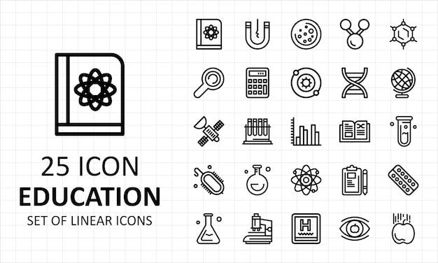 Conjunto de iconos de educación lineal