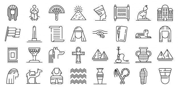 Conjunto de iconos de egipto, estilo de contorno