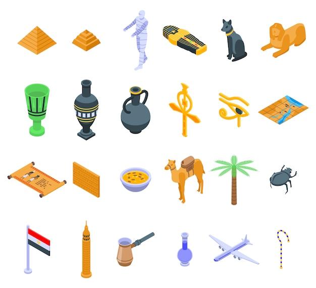Conjunto de iconos de egipto, estilo isométrico