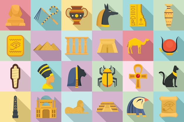 Conjunto de iconos de egipto, estilo plano