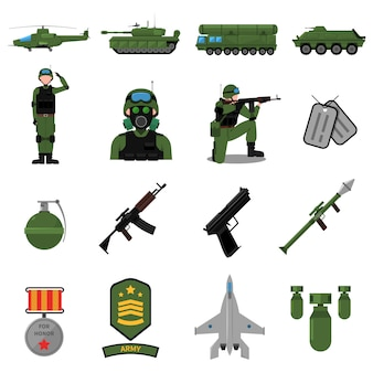 Conjunto de iconos del ejército