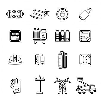 Conjunto de iconos de electricidad, potencia y energía.