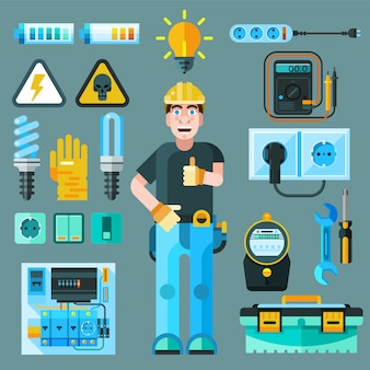 Conjunto de iconos de electricista