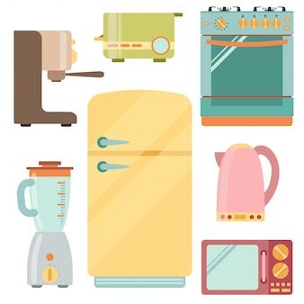 Conjunto de iconos de electrodomésticos de cocina