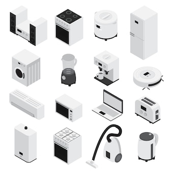 Conjunto de iconos de electrodomésticos isométricos 3d pequeños electrodomésticos y grandes blancos y aislados