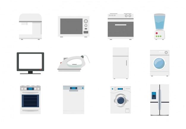 Conjunto de iconos de electrodomésticos de variedad