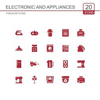 Conjunto de iconos electrónicos y electrodomésticos
