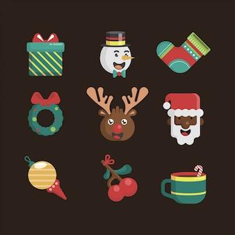 Conjunto de iconos de elemento de navidad vector