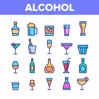 Conjunto de iconos de elementos de bebida de alcohol de colección