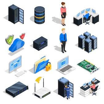 Conjunto de iconos de elementos del centro de datos