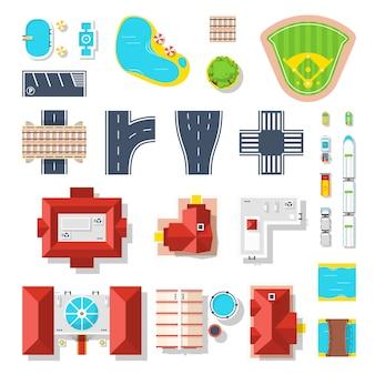 Conjunto de iconos de elementos de la ciudad