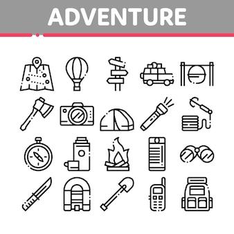 Conjunto de iconos de elementos de colección de aventura
