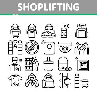 Conjunto de iconos de elementos de colección de hurto en tiendas