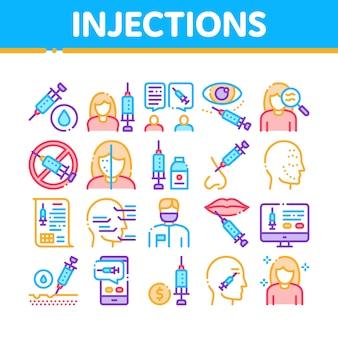 Conjunto de iconos de elementos de colección de inyecciones