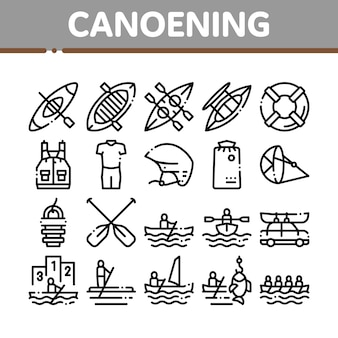 Conjunto de iconos de elementos de colección de piragüismo