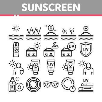 Conjunto de iconos de elementos de colección de protector solar