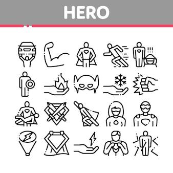 Conjunto de iconos de elementos de colección de superhéroe