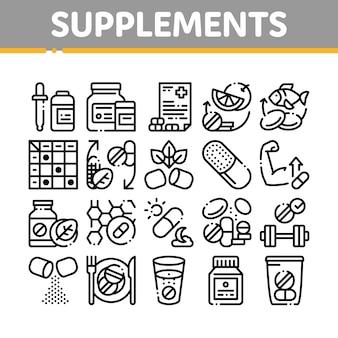 Conjunto de iconos de elementos de colección de suplementos