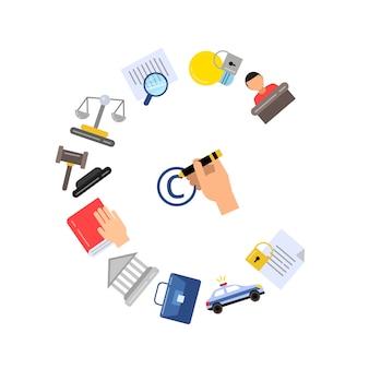 Conjunto de iconos y elementos de color de copyright de estilo lineal