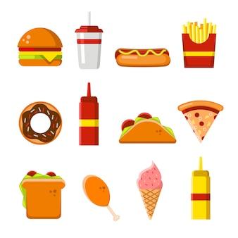 Conjunto de iconos y elementos de comida rápida plana