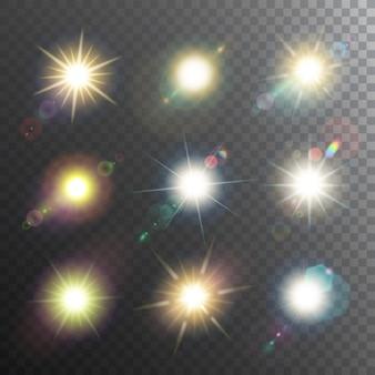 Conjunto de iconos de elementos de diseño de sol