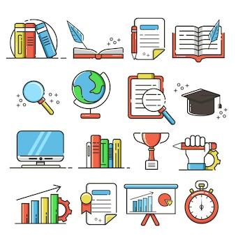 Conjunto de iconos y elementos de educación