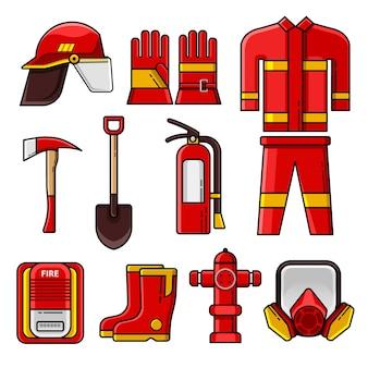 Conjunto de iconos y elementos de equipo de seguridad de bombero