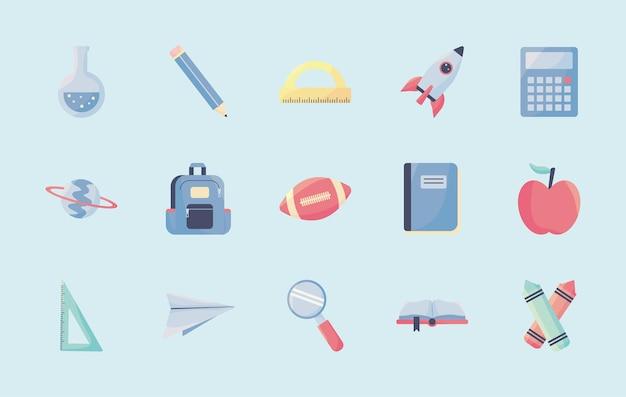Conjunto de iconos de elementos escolares