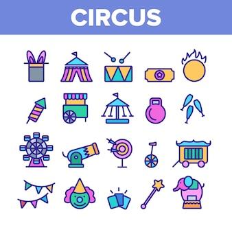 Conjunto de iconos de elementos de espectáculo de circo
