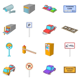 Conjunto de iconos de elementos de estacionamiento