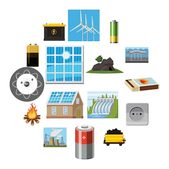 Conjunto de iconos de elementos de fuentes de energía, estilo de dibujos animados