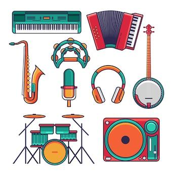 Conjunto de iconos y elementos de instrumentos musicales planos